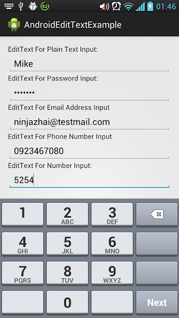 android edittext for number input