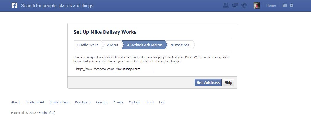 how to change facebook web address
