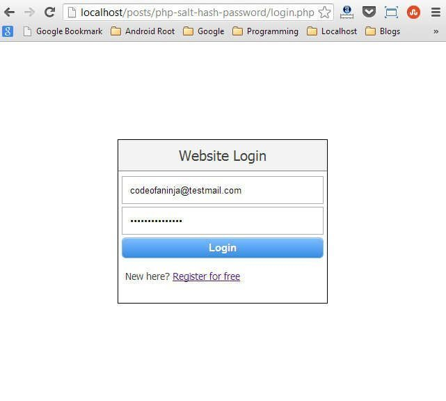 Our login page.