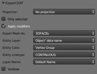 blender export to dxf