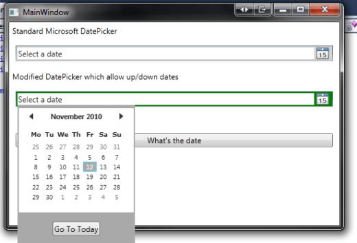 WPF DatePicker That Allows KeyBoard Up/Down DatePicking | Sacha\'s Blog