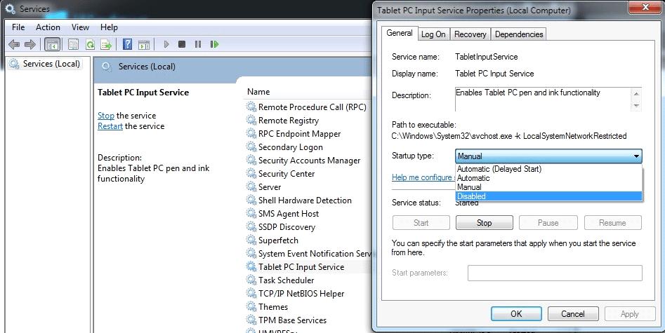 Disable Windows Services