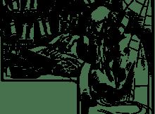 un anziano bibliotecario che svolge ricerca sui manoscritti della biblioteca