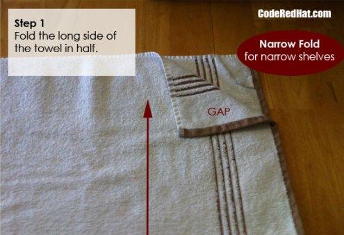 Step 1 Fold Towels Narrow