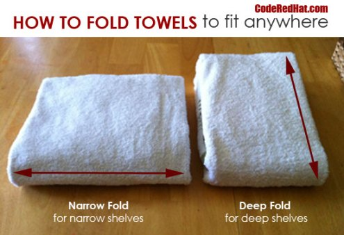 How To Fold Towels To Fit Any Shelf | Code Red Hat