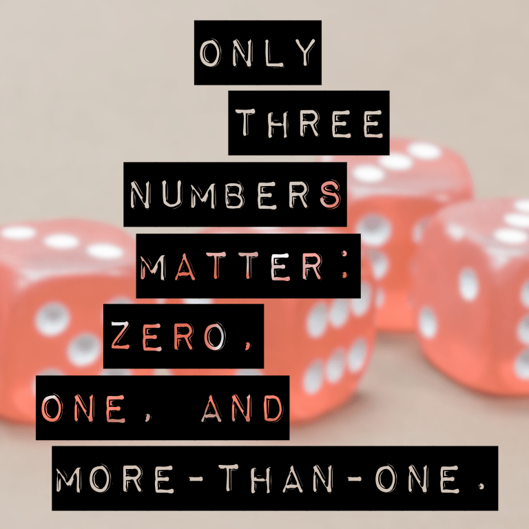 Only three numbers matter: zero, one, and more-than-one.