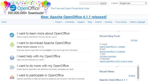 a screenshot of OpenOffice's main website page