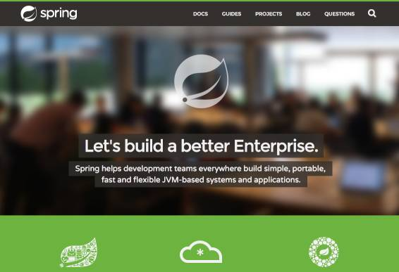 a screenshot of Spring's main website page