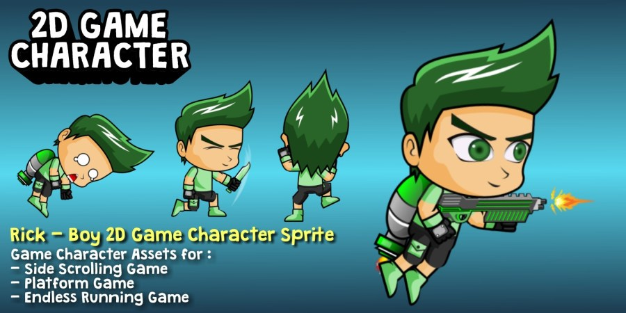 Rick   Boy 2D Game Character Sprite   Game Graphic Assets   Codester Rick   Boy 2D Game Character Sprite