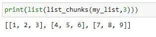 Splitting list into chunks of three