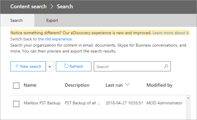 How to export Office 365 mailboxes to pst Select Search
