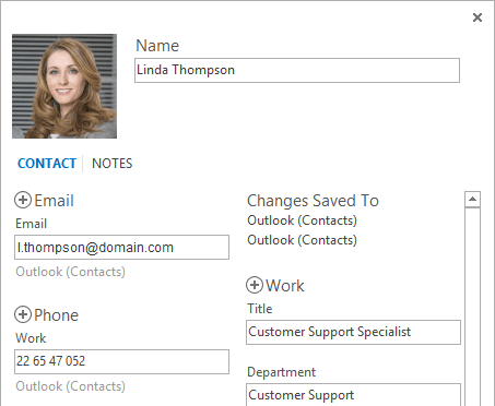An Office 365 user photo displayed in Microsoft Outlook 2016