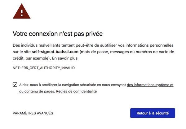 Connexion pas privée