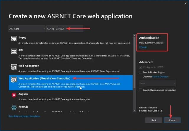 Create a new ASP.NET Core web application with Visual Studio 2019