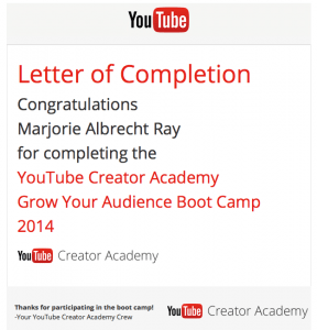 """YouTube """"Grow Your Audience Boot Camp"""" letter of completion"""