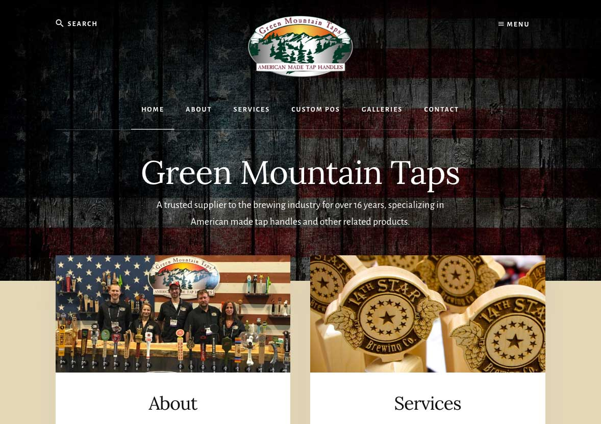 Green Mountain Taps WordPress Website