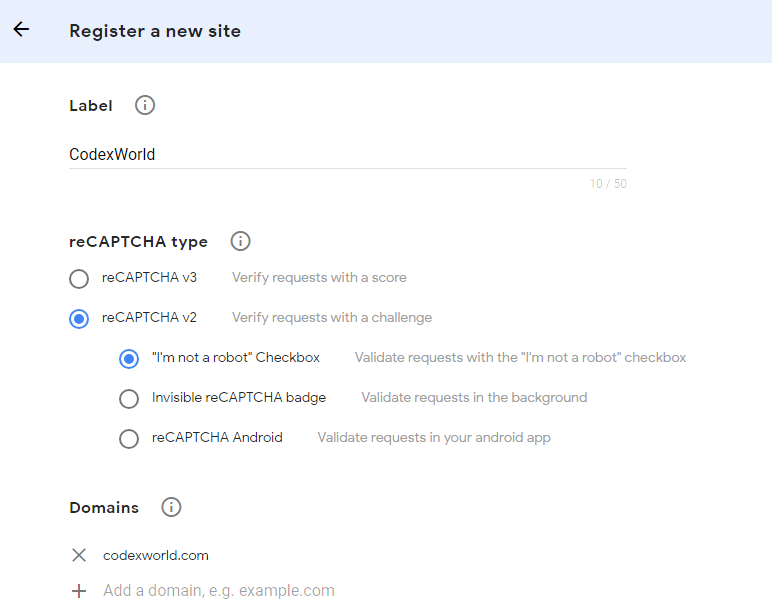 Integrate new Google reCAPTCHA Checkbox with PHP - CodexWorld