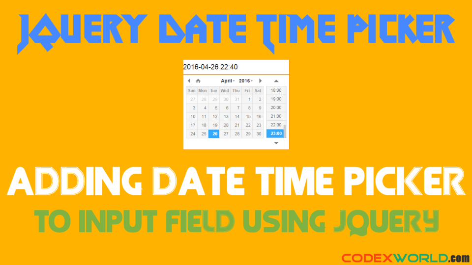 Add Date-Time Picker to Input Field using jQuery - CodexWorld