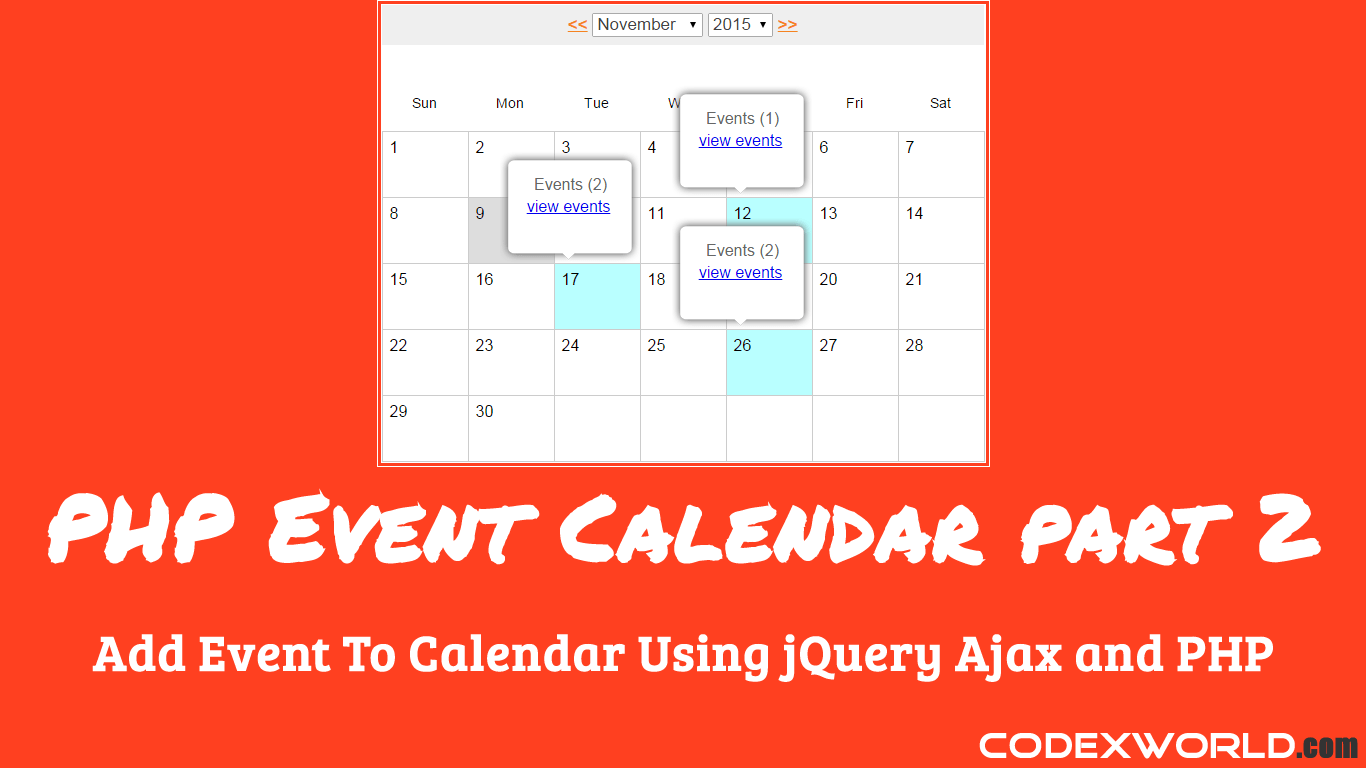 Add Event To Calendar Using Jquery Ajax And Php Codexworld Block Diagram