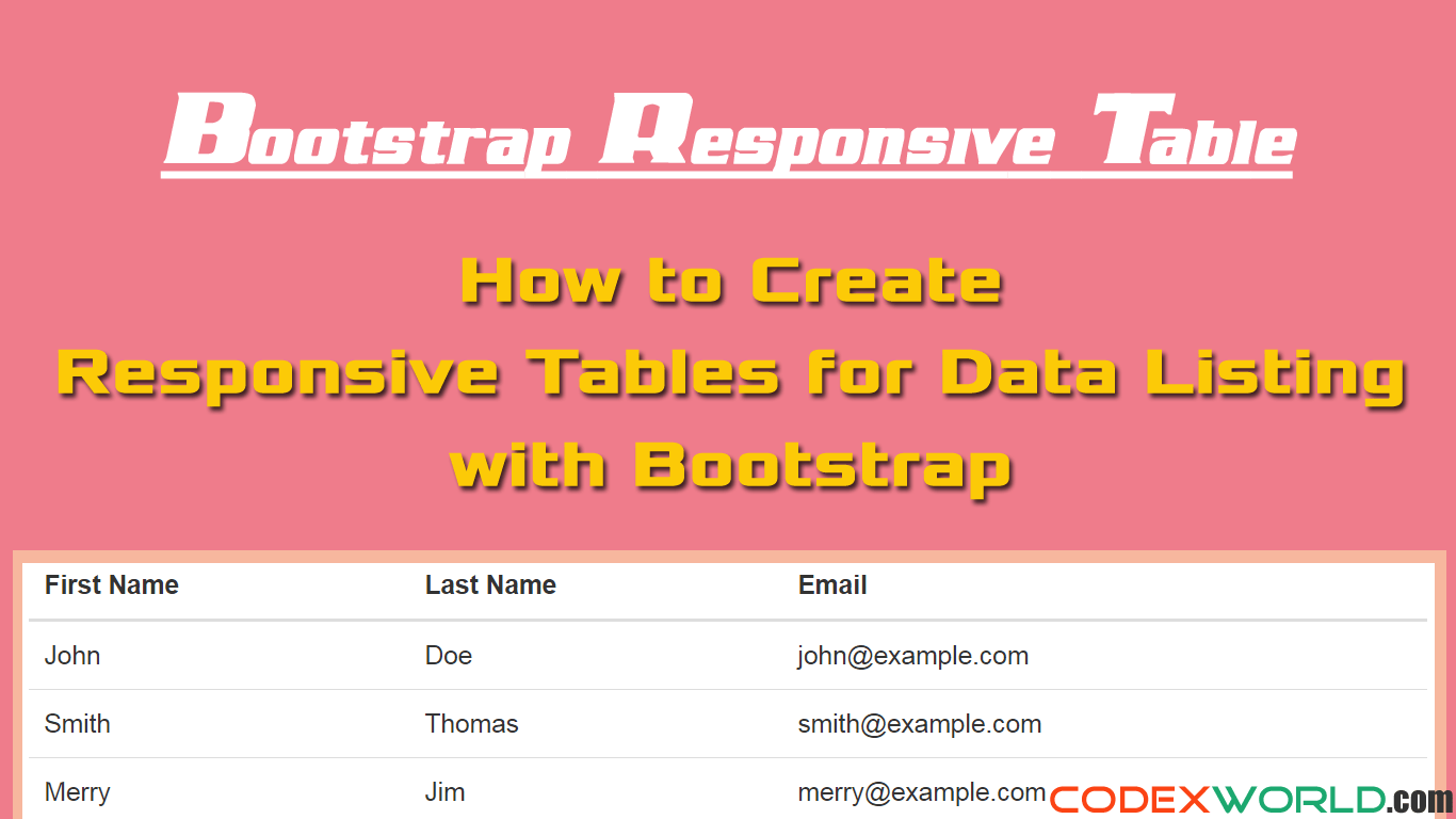 Bootstrap Responsive Table for Data Listing - CodexWorld