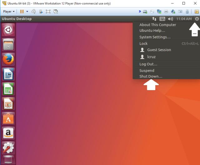 Apagar una maquina virtual con ubuntu, correctamente