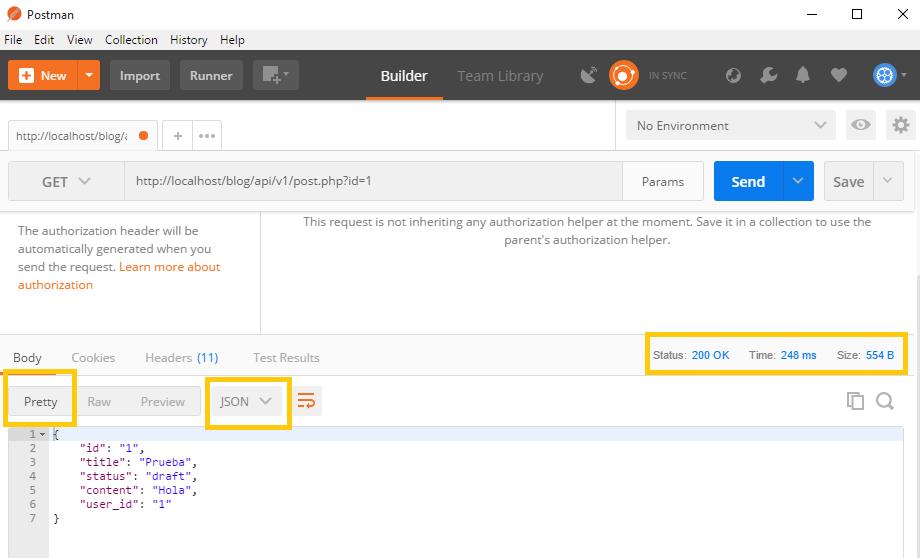 Mostrar en postman respuesta en formato json