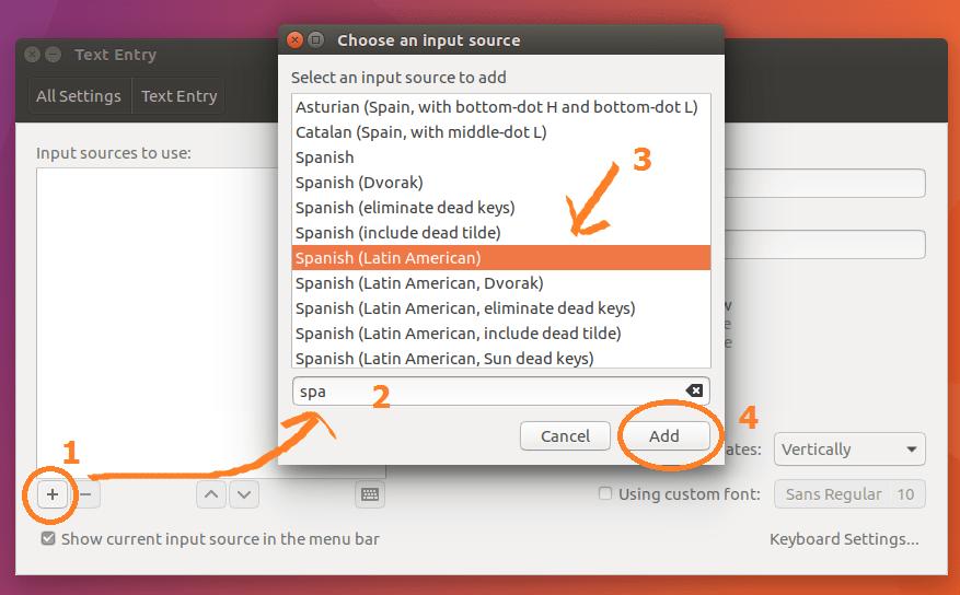 Agregar un teclado en español