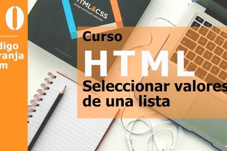 Curso html, listas select