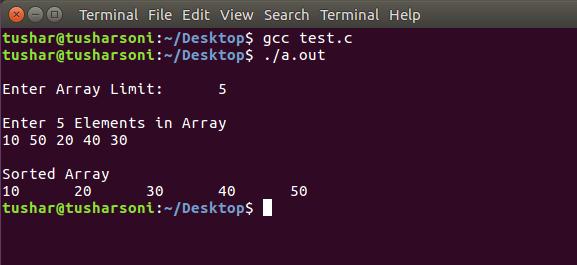 Sort Array Elements using Insertion Sort Algorithm in C Programming