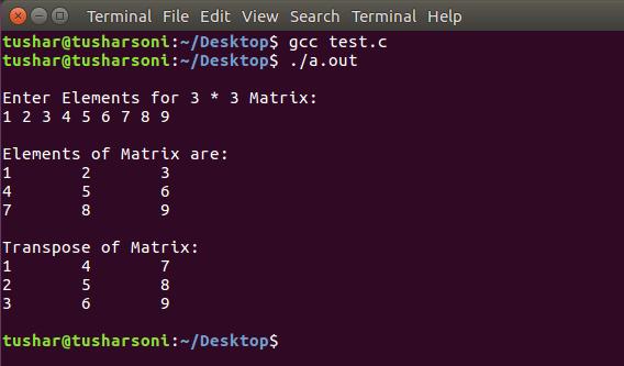 C Program To Find Transpose of Matrix