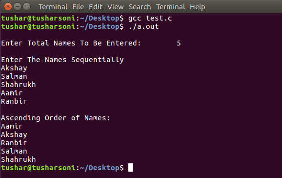 C Program To Sort Names in Alphabetical Order