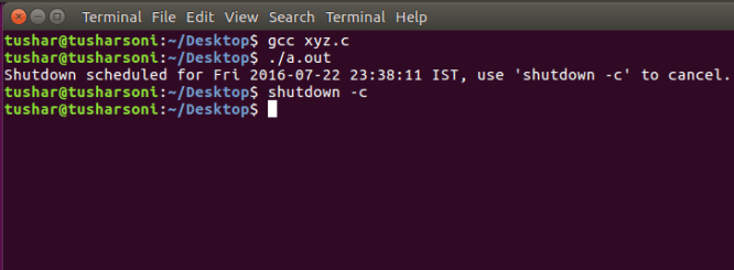 System Shutdown C Program in Linux Ubuntu OS