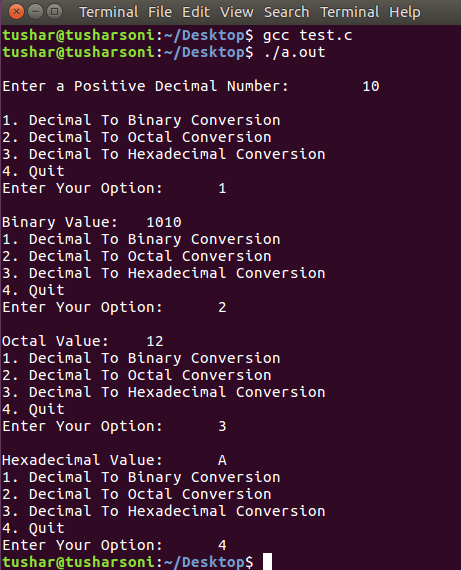 C Program To Convert Decimal into Binary, Hexadecimal and Octal Values