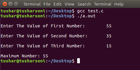 C Program To Find Largest Number Among Three Numbers using If Else and Conditional Operators