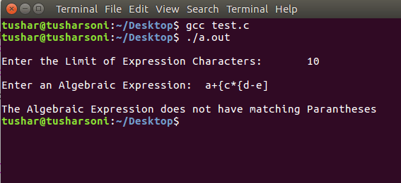 Check Matching Parantheses without Stack in C Programming using For and If Else Loop