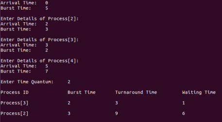 Round Robin Scheduling Program in C using Arrival Time and Array