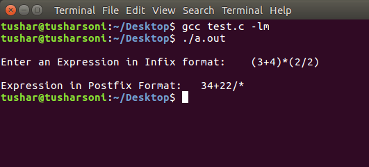 C Program To Convert Infix To Postfix using Stack