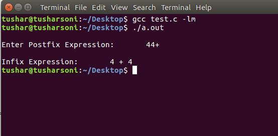 C Program For Postfix To Infix Conversion using Stack