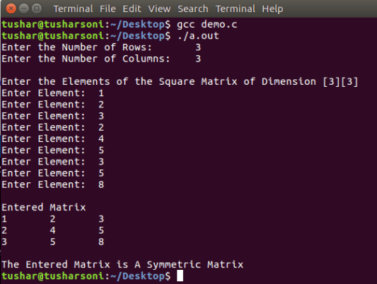 C Program To Check Symmetric Matrix with and without Function and Array