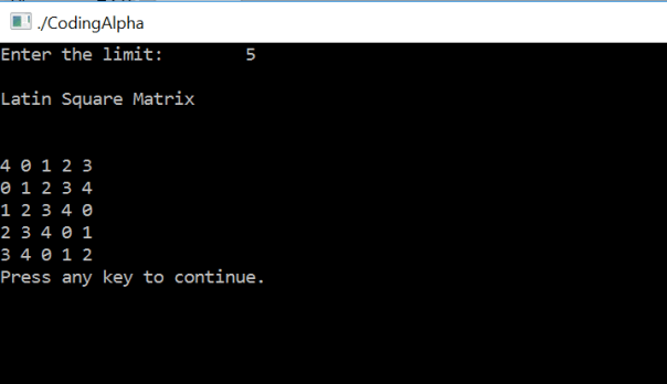C Program To Print Latin Square using Function, For Loop and While Loop