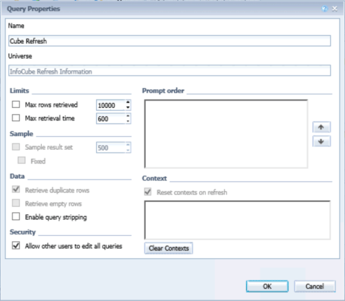 Enable Query Stripping in Web Intelligence report for performance improvement
