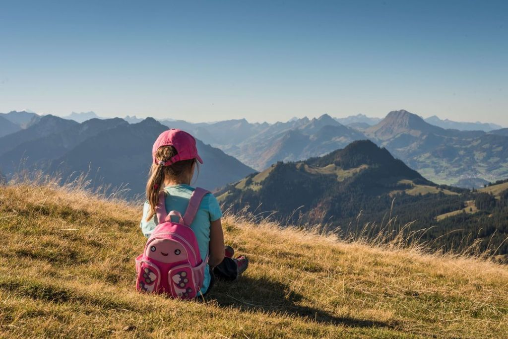 Little girl alone in the mountains