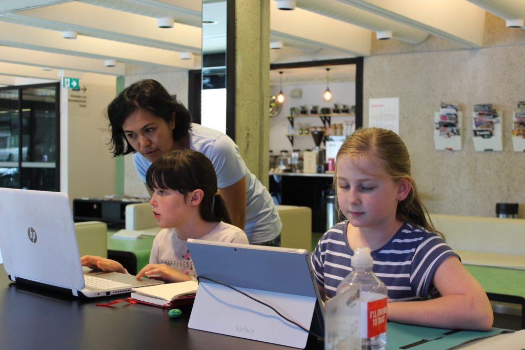 kids learning at holiday hackafun