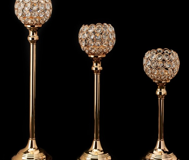 Add To My Lists Gold Crystal Ball Candle Holder