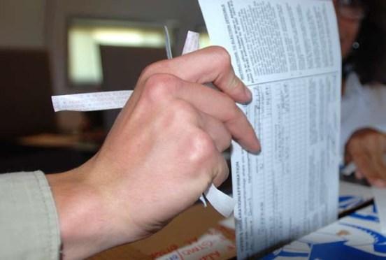 Person casting a ballot