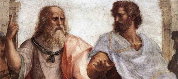 Plato and Aristotle disagreeing