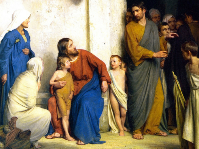 Jesus talking with children