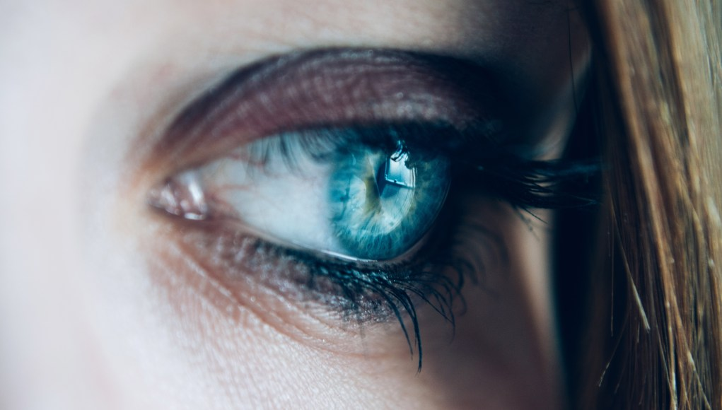 close-up of a the eye of a person thinking