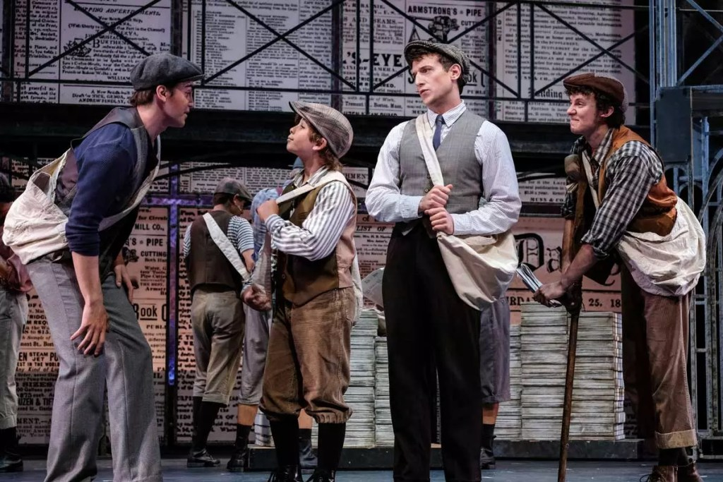 Actors Dillon Klena, Noah Baird, Scott Arnold, and Austyn Myers in Moonlight Stage Productions Newsies in San Diego