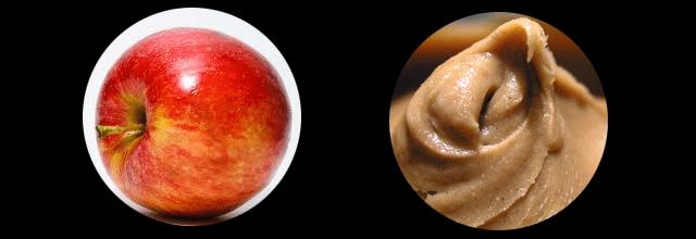 zdrowe dietetyczne przekąski jabłko z masłem orzechowym